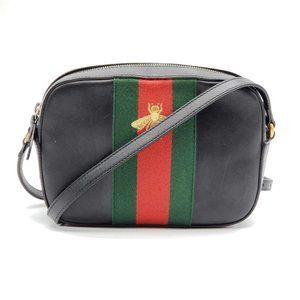 Authentic Gucci Bee Camera Black Crossbody Bag